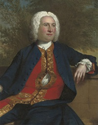 portrait of a gentleman seated in a navy coat and red waist-coat with gold frogging by andrea soldi