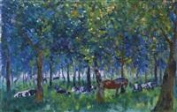 vaches et cheval sous les arbres by edmond verstraeten
