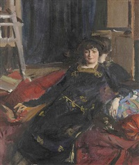 portrait of mme du cros, in a black dress by charles sims