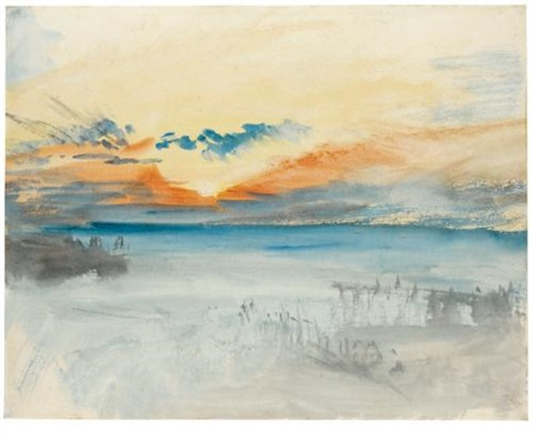 sunset over water by joseph mallord william turner