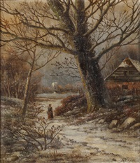 winter woodland scene with figure on path by hendrik barend koekkoek