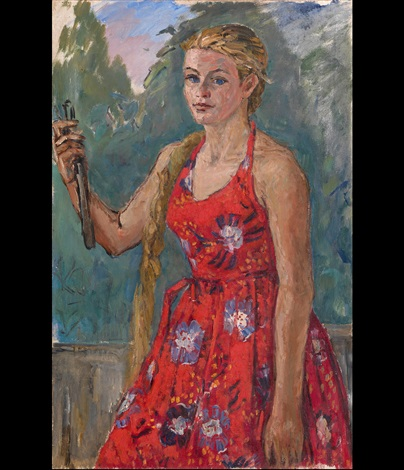 girl in a red dress by nadezhda andreevna udaltsova