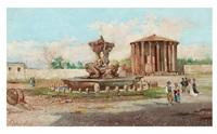 vestatemplet och fontänen på piazza bocca della verità by george edwin ewing