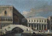 a view of the palazzo ducale and the palazzo delle prigioni nuove, with the ponte della paglia, venice by francesco tironi