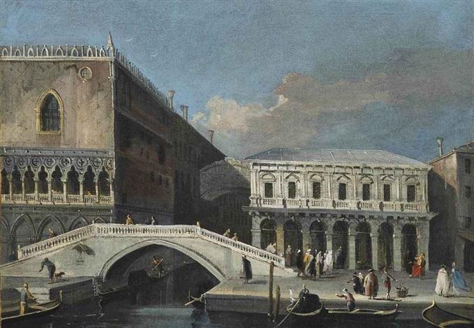 a view of the palazzo ducale and the palazzo delle prigioni nuove with the ponte della paglia venice by francesco tironi