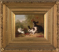 two bunnies and a chick eating cherries by mary russell smith