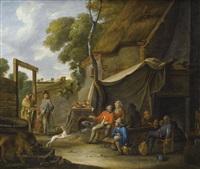 scène d'extérieur de taverne avec une diseuse de bonne aventure by sébastien bourdon
