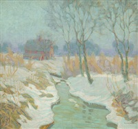 winter stream with red barn by richard a. holberg