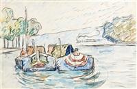 samois ii, bateaux sur la riviere by paul signac