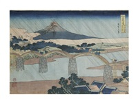 scene of kintai-bridge by katsushika hokusai