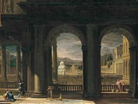 an architectural capriccio with figures near a balcony overlooking a courtyard and a park beyond by thomas blanchet