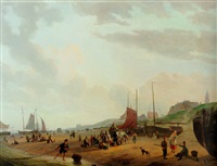 fisherfolk and townsfolk on scheveningen beach in the afternoon by abraham-johannes couwenberg