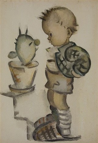 standing boy with cactus by mi hummel