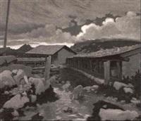 paesaggio alpino con pecore by pio solero