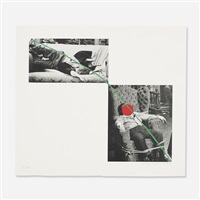 man collapsed on sofa; man tied to chair (from a suite of five lithographs for tristram shandy) by john baldessari