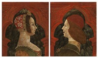 a woman in profile (+ a man, bust in profile; 2 works) by italian school-lombardy (15)