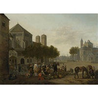 cologne, a capriccio view of the churches of sankt gereon and sankt aposteln, with a market scene in the foreground by gerrit adriaensz berckheyde
