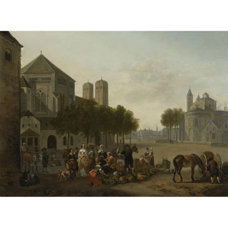 cologne a capriccio view of the churches of sankt gereon and sankt aposteln with a market scene in the foreground by gerrit adriaensz berckheyde