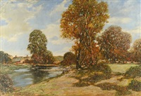 landscape with village and stream by miles jefferson early
