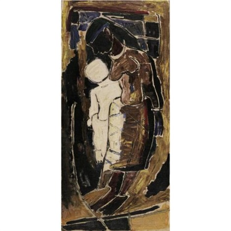 281a5ae95cdf0 Mother and child by M.F. Husain on artnet