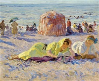 impressionistic beach scene by charles garabed atamian