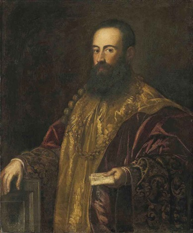 portrait of a venetian general jacopo soranzo the younger holding a letter in his left hand by jacopo robusti tintoretto