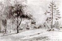 a landscape with cottages by cornelis steffelaar