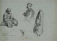 trois personnages orientaux avec une reprise de main en bas au centre (study) by alexandre bida