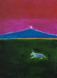 unicorn in a landscape by craigie aitchison