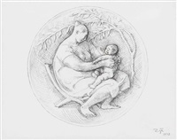 mother and child (study for a medal) by francisco zúñiga