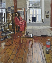 model wearing red kimono by ken howard