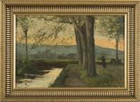 paysage de bord de rivière by antoine vollon