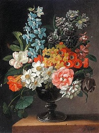 still life of flowers in a vase by james (sillet) sillett