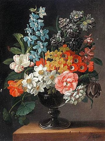 still life of flowers in a vase by james sillet sillett