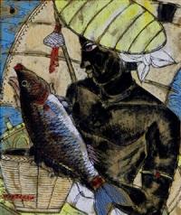 the fisherman; native drummers (2 works) by abdulrahim apabhai almelkar