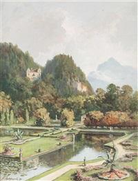 der hellbrunner park mit dem monatsschlössl, im hintergrund der untersberg by franz kulstrunk