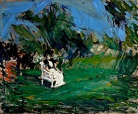 woman sitting in a garden by borge bokkenheuser