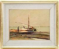 paesaggio marino con barca e pescatori by renuccio renucci