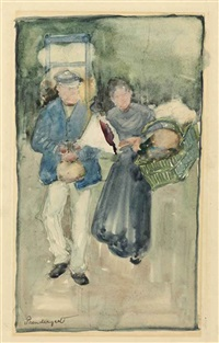 paris flower seller by maurice brazil prendergast