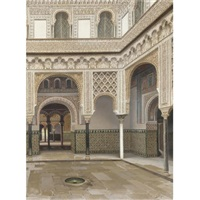 fuente en un patio moro (fountain in a moorish courtyard) by f. liger hidalgo