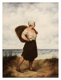 woman on a beach by william charles anthony frerichs