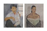 two paintings: portrait of zamudio and portrait of a woman by rodolfo nieto