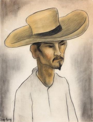 portrait de mexicain au chapeau jaune by diego rivera