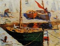 pêcheurs au port by charles cermak