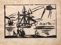 ship along the shore by lyonel feininger