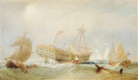 the colchester frigate wrecked on long island by george henry andrews
