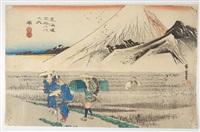 oban yoko-e, série de la grande tokaido, station 14, vue du mont fuji, le matin à hara by ando hiroshige