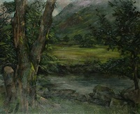 landscape with mountains beyond by leonard appelbee