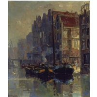 moored boats at the back of the zeedijk, amsterdam by frans langeveld