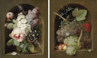 roses, hyacinth and other flowers in a glass vase (+ another; pair) by georg frederik ziesel
